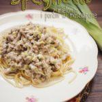 Kuchnia: Spaghetti z mielonym i porem w mascarpone